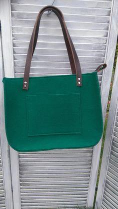 Green bottle felt tote Felt Bag For Shopping Shopper Bag