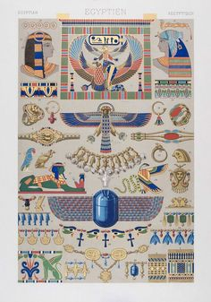 Egyptian pattern from L& Polychrome by Albert Racinet Digitally enhanced from our own original 1888 edition. Ancient Egypt Art, Ancient Egyptian Jewelry, Egyptian Symbols, Egyptian Art, Egyptian Goddess, Egypt Jewelry, Jewelry Art, Egypt Museum, Art Ancien