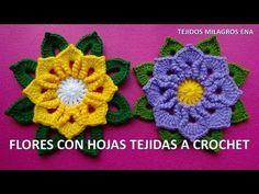 Flores Tejidas a Crochet o Ganchillo paso a paso con Hojas para Caminos de Mesa - YouTube
