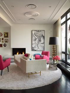 #pink #pops In The Living Room | Living / Family Rooms | Pinterest | Living  Rooms And Room