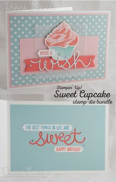 cupcake birthday card using Stampin Up Sweet Cupcake - Cupcake Cutouts bundle & square scallop framelits. By Di Barnes #colourmehappy…