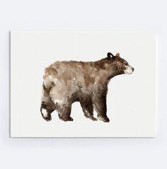 Brown Bear Art Print, Minimalist Painting, Animal Watercolor, Baribal Illustration, Home Decor, Gift Idea