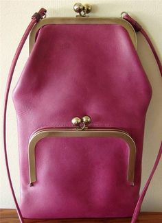 Bonnie Cashin COACH Leather Messenger Bag Double Kisslock LILAC VTG 60s Rare #BONNIECASHINforCOACH #MessengerCrossBody