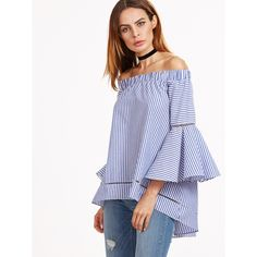 Blue And White Striped Off The Shoulder Bell Sleeve Blouse ($25) ❤ liked on Polyvore featuring tops, blouses, blue, blue white striped shirt, blue blouse, blue shirt, bell sleeve blouse and off the shoulder blouse