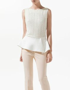 COMBINED LACE TOP WITH FRILL - Shirts - Woman - ZARA
