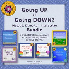 This bundle (113 pages) emphasizes introducing, reinforcing, reviewing and assessing sounds/melodies going up or down in music interactively!