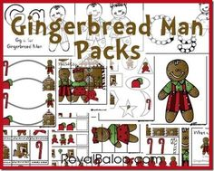 Royal Baloo has a fun free printable Gingerbread man pack available. You can choose the Tot, PreK, or K-2nd packs.    Don't miss this hu