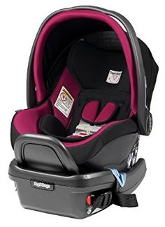 The Peg Perego 4:35 infant car seat in Fleur fabric color has some pretty bold pink detailing around the edges of the seat, canopy and harness straps. Another stylish design by the Peg Perego company.
