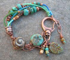 Boho cerámica abalorios pulsera, pulsera de Macrame con cuentas, anudada a mano con cobre abalorios pulsera OOAK