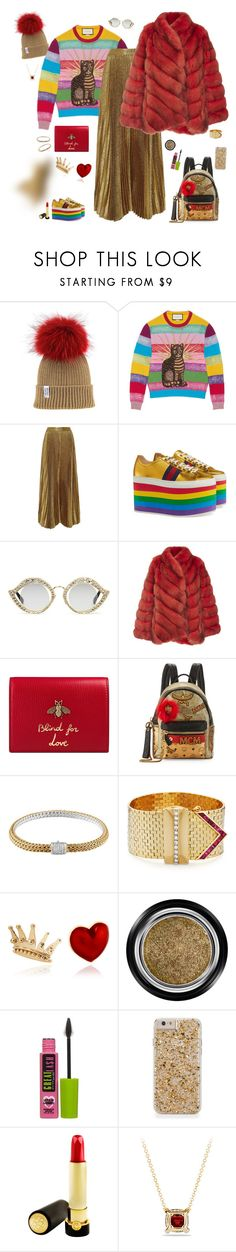 """""""...and this is her keeping it simple - Golden girl"""" by riquee ❤ liked on Polyvore featuring Gucci, Alice + Olivia, Helen Yarmak, MCM, John Hardy, Alison Lou, Armani Beauty, Maybelline, Tatcha and David Yurman"""