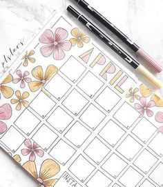It's too late to use @plslars #helloapril monthly spread, but flowers will work for May, too!⠀ .⠀ .⠀ #zenofplanning #showmeyourplanner .⠀ .⠀ MONTHLY✨