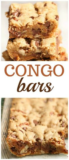 Congo Bars Recipe Six Sisters Stuff These Congo Bars are so easy to make and taste just as or more delicious as homemade chocolate chip cookies Paleo Dessert, Dessert Recipes, Easy Dessert Bars, Appetizer Dessert, Bar Recipes, Homemade Chocolate Chip Cookies, Chocolate Chip Recipes, Chocolate Chip Bars, Chocolate Cheesecake