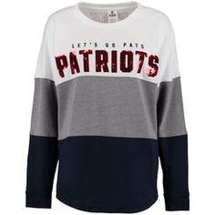 Women's New England Patriots PINK by Victoria's Secret Navy/Gray/White Bling Varsity Crew Neck Sweatshirt