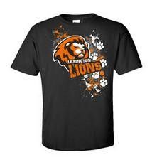 Lion Spiritwear T-Shirt Design.  School Spiritwear Shirts and Apparel.  Use your mascot graphic or ours.  EASY and RISK FREE!!     Great for Elementary Schools.  http://spiritwearshirts.com/