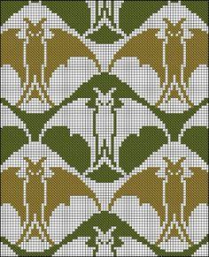 Antique Cross Stitch - bats