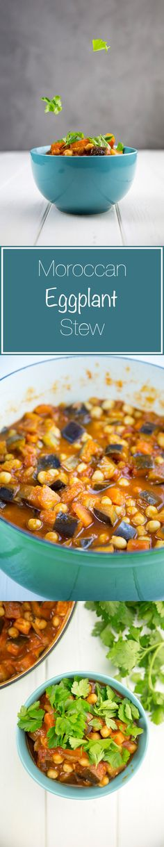 A delicious and hearty eggplant stew. This Moroccan eggplant stew is full of fresh vegetables and hearty flavours for a perfect winter stew.