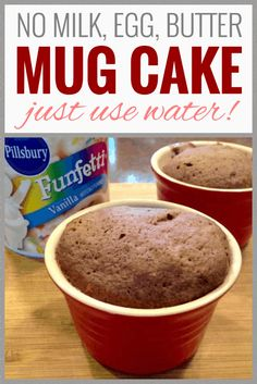 In A Pinch Microwave Mug Cake! With no milk egg or butter. A top recipe at Milk Allergy Mom that kids love! Egg Free Recipes, Mug Recipes, Delicious Cake Recipes, Yummy Cakes, Dessert Recipes, Vegan Recipes, Delicious Snacks, Vegan Meals, Recipies