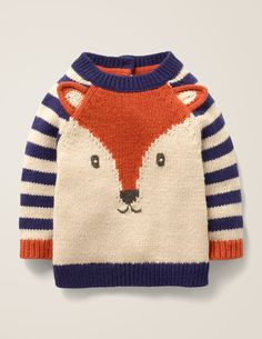 Buy Mini Boden Baby Fox Cub Striped Knit Jumper, Starboard Blue from our Baby & Toddler Knitwear range at John Lewis & Partners. Baby Knitting Free, Knitting For Kids, Easy Knitting, Knit Baby Dress, Knitted Romper, Knitted Hats, Fox Sweater, Boys Sweaters, Sweater Knitting Patterns