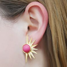 un Ray Vintage Style Hot Pink Statement Earrings - These super cool vintage inspired stud earrings have a frosted raspberry pink cabochon surrounded by a gorgeous Aztec sun ray motif. #Jasperandopal #Jewellery #Valentine #Valentinesday #PersonalisedGift #ForHer