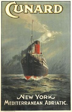 Extremely rare, beautiful poster advertising transatlantic travel on the  Lusitania. Although the ship's name does not appear on the bow of the vessel illustrated, we know it is the Lusitania both by her profile (with her signature four smokestacks) and the white stripe along the top edge of her bow. This poster predates the Lusitania's maiden voyage (Sept. 7, 1907), as she never sailed with this white stripe in place.