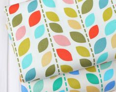 Scandinavian Style Pastel Color Leaves Pattern Oxford Fabric by Yard AQ97 - 2 Colors Selection
