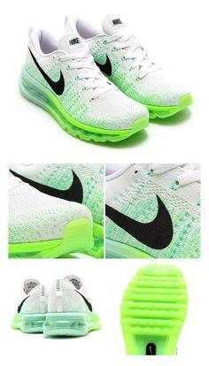 Nike Womens Flyknit Air Max: White/Black/Electric Green/Medium Mint