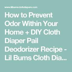 How to Prevent Odor Within Your Home + DIY Cloth Diaper Pail Deodorizer Recipe - Lil Bums Cloth Diapers