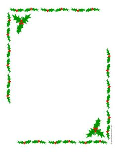Holly leaves border frame or printable Christmas letter paper. Small size is nice size for gift tags or labels.
