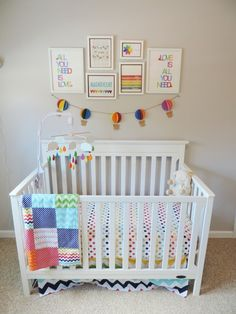 """THIS IS THE INSPIRATION FOR OUR NURSERY The only change is a balloon mobile instead of clouds. Also, I would like the artwork to include """"Somewhere Over the Rainbow"""""""