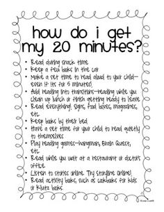 Do your parents complain that they don't have enough time to read with their child? Here is a list of easy ways for them to find time to read! Use it as a handout at your Back to School night, or as a mid-year reminder. Reading Homework, Reading At Home, 4th Grade Reading, Reading Workshop, Guided Reading, Reading Aloud, Reading Goals, Letter To Teacher, Letter To Parents