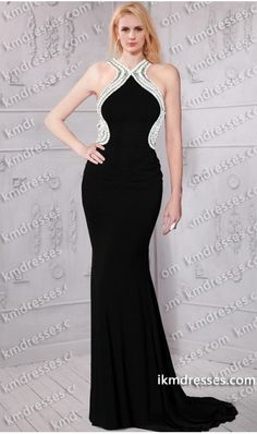 http://www.ikmdresses.com/amazing-pearls-accented-high-neck-halter-criss-cross-open-back-jersey-dress-inspired-by-Kristen-Bell-p61035