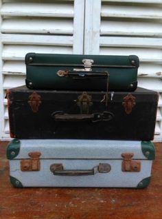 Oude Brocante Vintage Koffer Wit-Groen - Onderste Koffer