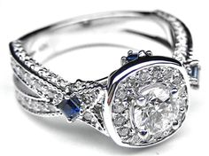 Diamond Halo Laced Engagement Ring Blue Sapphire Accents - Awesome ! Love the sapphire accents ! :)