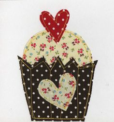 Stitched Fabric Cupcake and Heart Square Greetings by indigostitch, $5.00