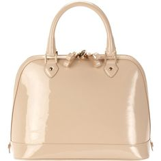 Aspinal of London Classic Hepburn Grab Handbag, Nude Patent found on Polyvore