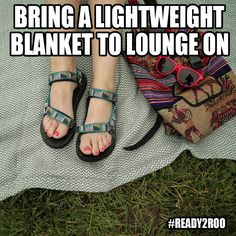 Festival Tip: Bring a lightweight blanket. It gives you a clean place to lounge during down times, and it's easy to pack when you're walking around. #Ready2Roo