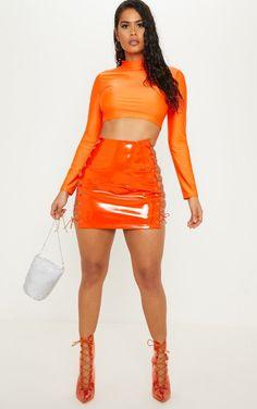 3793aff4e68a0 Neon Orange Vinyl Lace Up Side Mini Skirt Orange