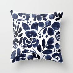 Watercolor botanical floral.<br/> <br/> Navy, indigo, blue, white, floral, watercolor, botanical, flowers