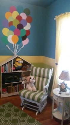 This is my little boys nursery. Disney/Pixar themed. Inspired by the movie Up. They are coated with clear chalkboard too! For his ABC's!