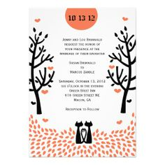 Cat Wedding Bride Groom Invitation Set Red Orange Beige Blue Fl Elements Hearts And Dots Funny An Original Cards