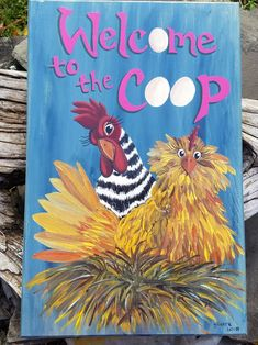 Welcome to the Coop Sign - Custom Chicken Sign - Wood Barn Sign - Funny Chicken Sign - Chicken Coop Sign - Farmhouse Sign - Rustic Barn Sign Chicken Coop Decor, Chicken Coop Signs, Best Chicken Coop, Chicken Humor, Building A Chicken Coop, Chicken Coops, Chicken Houses, Chicken Feeders, Chicken Tractors