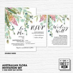 Wedding Invitation Printable Australian Native Flowers | Etsy Printable Wedding Invitations, Invitation Set, Wedding Stationery, One Sweet Day, Australian Native Flowers, Nature Inspired Wedding, Eucalyptus Leaves, Wishing Well