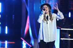 Lina Gaudenzi performs during the knockout round on The Voice. (NBC Photo)