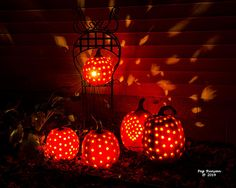 Pumpkin luminaries light up the harvest party in northern Michigan.