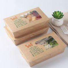 Disposable custom printed food kraft paper box for Salad/Soup/Noodle - Fruit Salad Sandwich Packaging, Salad Packaging, Food Box Packaging, Bakery Packaging, Food Packaging Design, Brand Packaging, Disposable Food Containers, Vegetable Packaging, Product Design