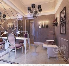 Fancy Nail Salon, Classic chair, chandelier and a wall mirror gives this room an. - Fancy Nail Salon, Classic chair, chandelier and a wall mirror gives this room an elegant atmosphere - Home Beauty Salon, Home Nail Salon, Nail Salon Design, Nail Salon Decor, Beauty Salon Decor, Salon Interior Design, Beauty Salon Design, Beauty Salon Interior, Fancy Nail Salon