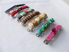 7 Decorated metal hair barrettes - handmade beaded hair clips by SparkleandComfort, $14.00