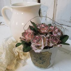Hand painted pail with French label filled with moss ,pink hand dyed pink roses with vintage German glass home decor anita spero