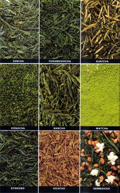 There are about 20 different types of Japanese tea: Sencha, Fukamushicha, Kukicha, Konacha, Bancha, Matcha, Gyokuro, Hojicha, Genmaicha.. I love green tea!