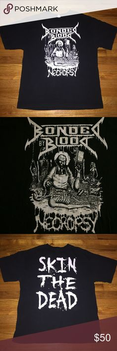 Bonded by Blood Necropsy Shirt XL From a collection of heavy metal shirts. (1990's-2000's)  Vintage condition. Fadding, lettering is cracked. May contain small holes and/or spots. Please see pictures for details.  Size XL Shirts
